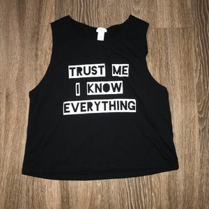Women's Black Forever 21 Graphic Tank, Size L